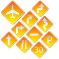 Yellow road signs Royalty Free Stock Photography