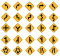 Yellow road signs traffic vector set on white background Stock Photos