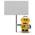 Yellow robot with sign cute toy holding a big looking upwards over white background Stock Photography