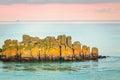 Yellow rocks on French coast, St-Malo, France Royalty Free Stock Photo