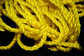 Yellow Rope on Black Background Stock Image