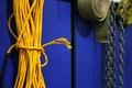 Yellow rope and chains Royalty Free Stock Photo