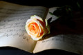 Yellow rose on an ancient music score dim light Stock Photo