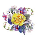 Yellow rose, flower cherry, bouquet, watercolor, image
