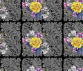 Yellow rose, flower cherry, bouquet, watercolor, pattern seamless