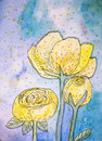 Yellow roses abstract in blue watercolor background Stock Images