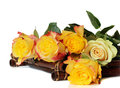 Yellow roses bamboo tray white Royalty Free Stock Photography