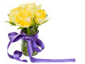 Yellow roses posy Stock Images