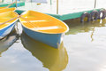 Yellow rowboat in the park thailand Royalty Free Stock Images
