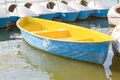 Yellow rowboat in the park thiland Stock Image