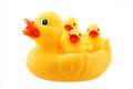 Yellow rubber duck and little ducky isolated on white Royalty Free Stock Photo
