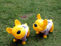 Yellow Rubber Toy Dog Royalty Free Stock Photography