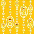 Yellow russian doll wallpaper Stock Photos