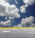 Yellow safety concrete barrier Stock Photography