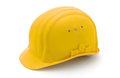 Yellow safety helmet for protection on a construction workplace object on a white background Royalty Free Stock Photo