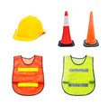 Yellow safety helmet traffic cone barricade warning cones orange and green isolated on white set of Royalty Free Stock Photo