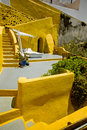 Yellow Santorini terrace 2, Greece Stock Photos