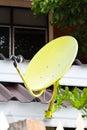 Yellow  Satellite dish antennas Royalty Free Stock Images