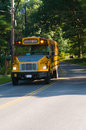 Yellow school bus stopped on country road Royalty Free Stock Photos