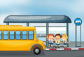 A yellow school bus and the three kids illustration of Royalty Free Stock Photos