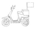Yellow scooter delivery cute line art illustration Royalty Free Stock Photo