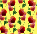 Yellow seamless background with beautiful red flowers Stock Images