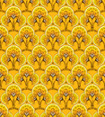 Yellow seamless background decorative floral Stock Photo