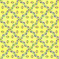 Yellow seamless pattern with green and purple diagonal pattern