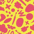 Yellow seamless pattern with hand drawn doodle