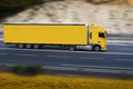 Yellow semi truck Royalty Free Stock Photo