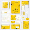 Yellow set of vector corporate identity template. Modern medical stationery mock-up. Branding design with molecule Royalty Free Stock Photo
