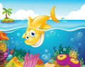 A yellow shark diving into the sea illustration of Royalty Free Stock Photography