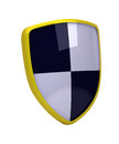 Yellow shield with white and black diagonal squares high resolution image isolated on background Stock Photos