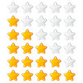 Yellow shiny rating stars Royalty Free Stock Photo