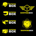 Yellow Shipping box logo sign vector set isolate on black Royalty Free Stock Photo