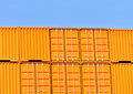 Yellow shipping containers Stock Images