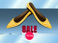 Yellow shoes with dots on the store shelf they are sold at discount Royalty Free Stock Photos
