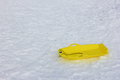 Yellow sleigh leave at snow, ski resort Royalty Free Stock Photo