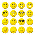 Yellow Smile Emotion Icons Set. Vector Royalty Free Stock Photo