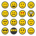 Yellow Smile Icons Set on White Background. Vector Royalty Free Stock Photo