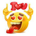 Yellow smiley emticon cartoon character with i love you title in hands