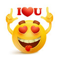 Yellow smiley face character with heart sheped eyes Royalty Free Stock Photo