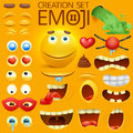 Yellow smiley face character for your scenes template. Emotion big set. Royalty Free Stock Photo