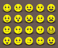 Yellow smiley face icons and emoticons with facial expressions