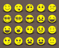 Yellow smileys faces icon and emoticons with facial expressions Royalty Free Stock Photo