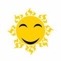 Yellow smiling sun vector - cartoon vector