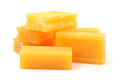 Yellow soap on white background Stock Photos