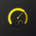 Yellow speedometer on carbon background