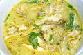 Yellow spicy chicken curry close up thai food Stock Image