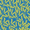 Yellow spikelets. Vector seamless pattern